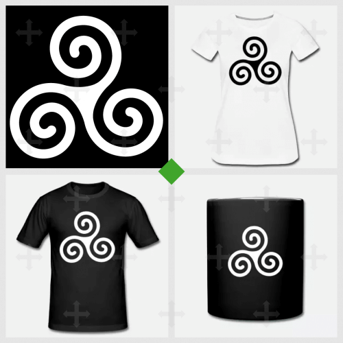 Tee shirt Triskell breton basique 3 spirales customisé.