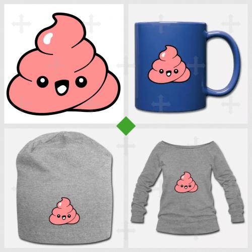 Emoji kawaii en forme de crotte, à personnaliser et imprimer sur t-shirt.