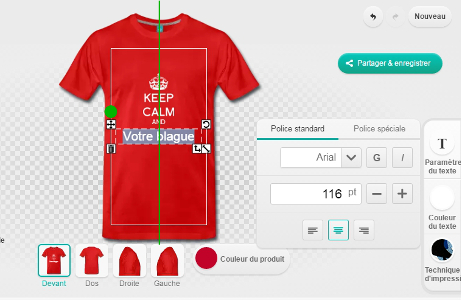 Un repère s'affiche lorsque vous atteignez le centre du t-shirt en déplaçant un design ou un élément.