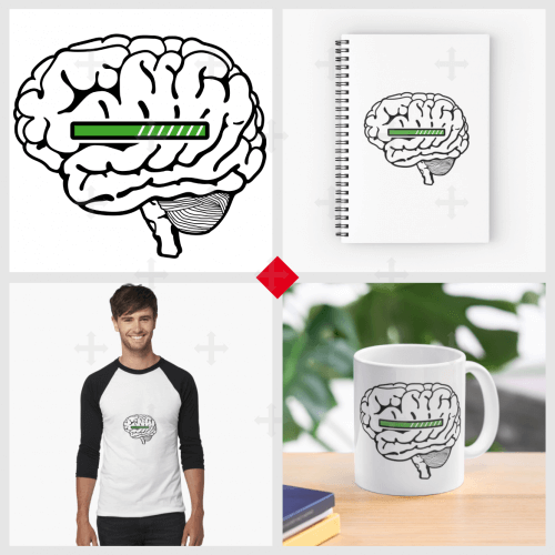 T-shirt geek, cerveau loading, cerveau stylisé avec une barre de chargement verte. Motif à imprimer sur vêtement, tasse, accessoire..