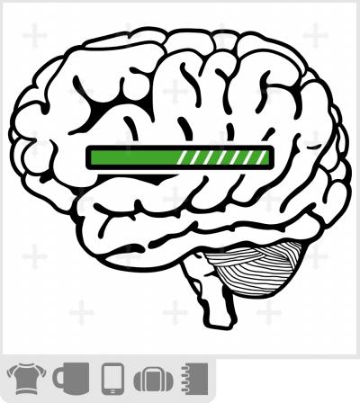 t-shirt cerveau loading rigolo, cerveau stylisé et barre de chargement