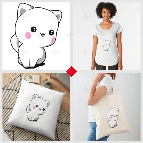 T-shirt chaton, accessoire chat, carnet chibi mignon, commandez l'article qui vous plaît avec ce design rigolo représentant un chaton assis stylisé..