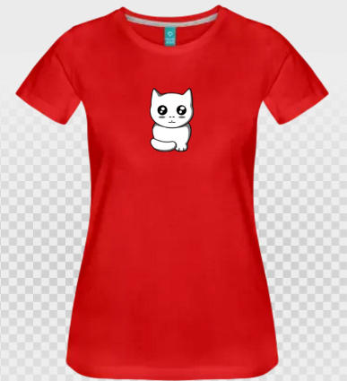 t-shirt chat opaque et fond rouge à personnaliser.