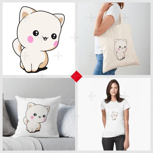 T-shirt chaton chibi sur Redbubble. Dessin de chaton stylisé en style chibi, chaton opaque en tons crème et clairs.