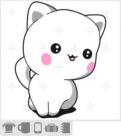 T-shirt chaton chibi mignon assis sagement. Petit chat adorable.