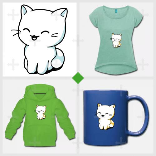T-shirt chaton en couleurs personnalisables.