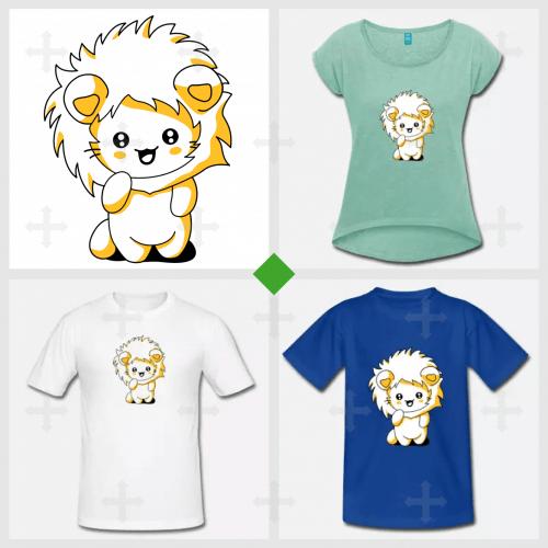 Petit chat debout à l'expression rieuse, portant une capuche à crinière de lion.