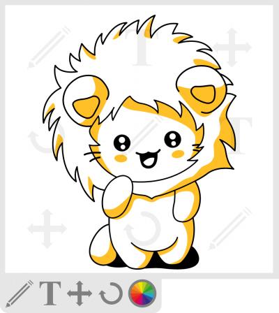 t-shirt chaton kawaii avec une crinière de lion.