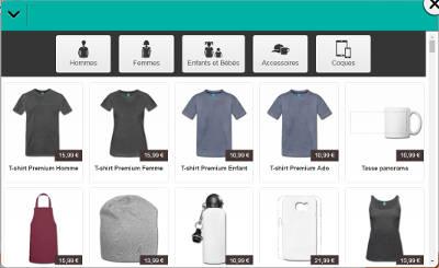 Le choix de t-shirts et accessoires Spreadshirt à personnaliser