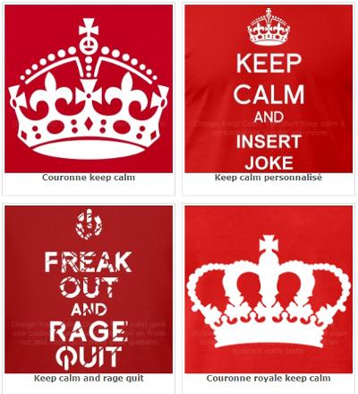 Les couronnes royales britanniques et les parodies de keep calm.