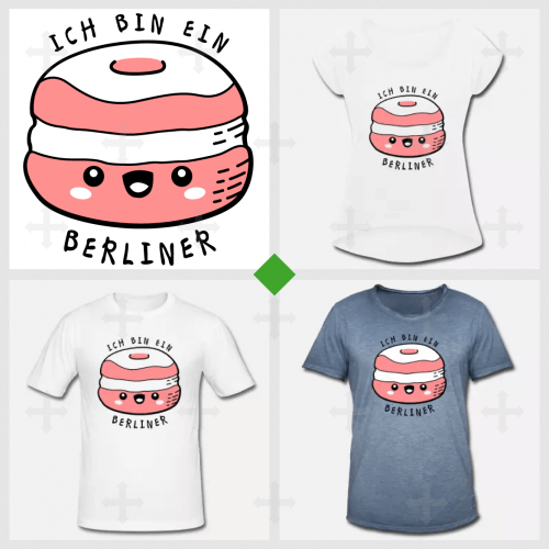 T shirt ich bin ein Berliner, citation drôle