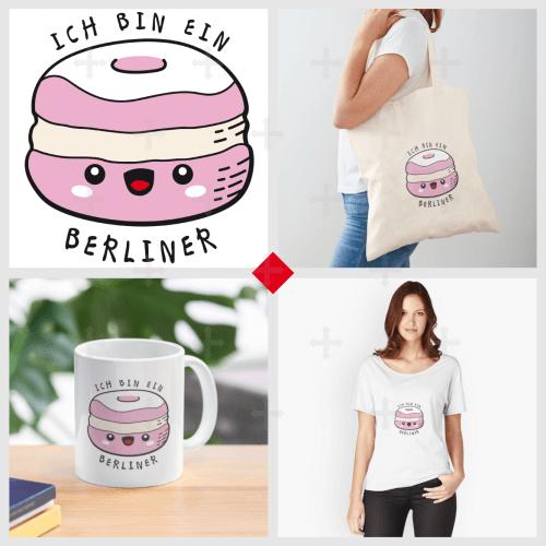 Citation Ich bin ein Berliner en typo manuscrite, et beignet rigolo. Un Berliner est un beignet allemand. Commandez votre t-shirt citation drôle ou un accessoire kawaii.