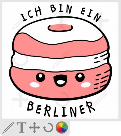 Beignet kawaii et citation drôle, t-shirt Ich bin ein Berliner humoristique à personnaliser en ligne.