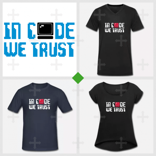 T-shirt in code we trust à personnaliser en ligne. Blague informatique et geek.