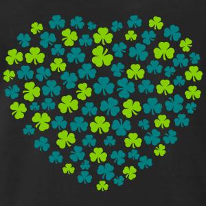 Coeur composé de trèfles irlandais de deux couleurs.