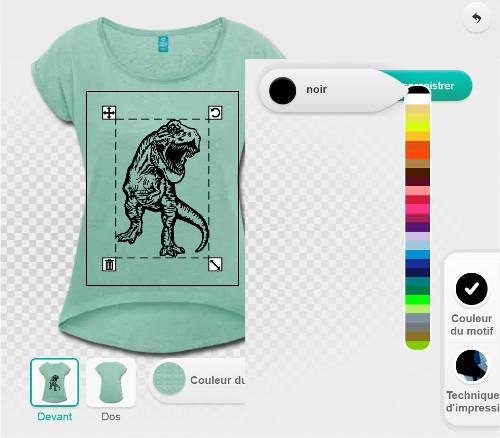 Réglage des couleurs du t-shirt