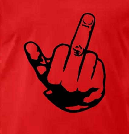 Doigt d'honneur homme et t-shirt rouge
