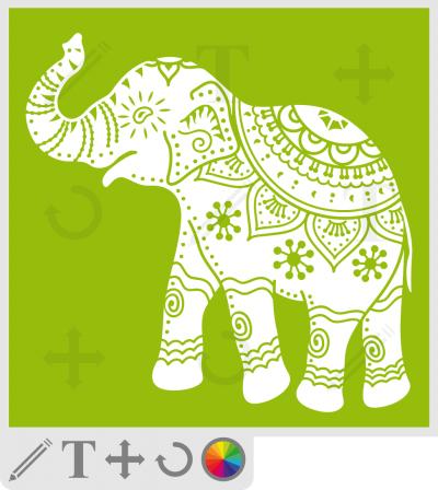 T-shirt éléphant décoré. Éléphant d'Inde.