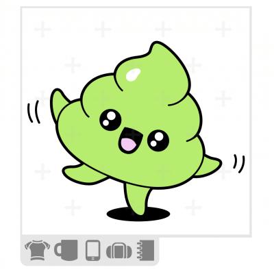 t-shirt emoji caca qui danse, dessin de crotte kawaii rigolote