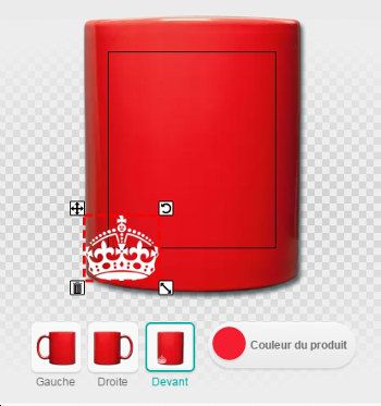 Couronne keep calm et tasse rouge, drag and drop, personnalisation