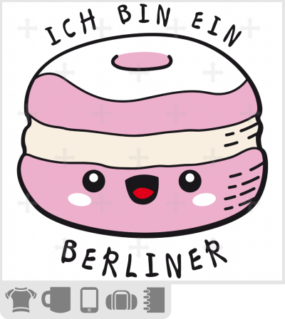 t-shirt citations drôles, t-shirt ich bin ein Berliner, citation Kennedy et donut kawaii souriant.