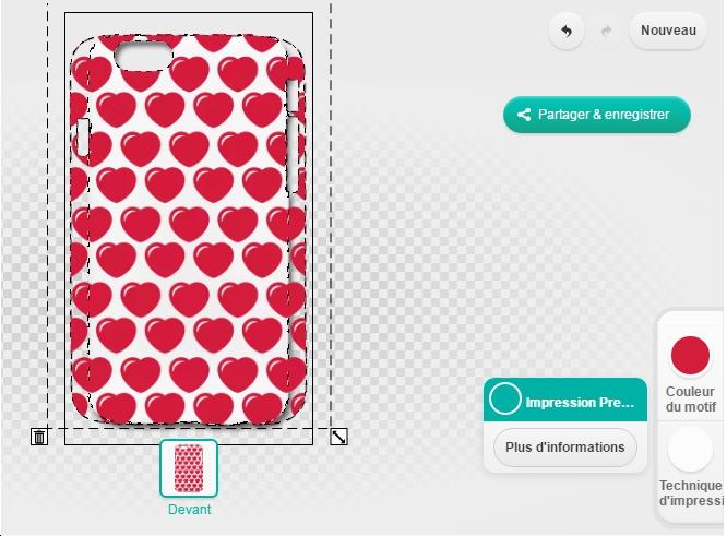 Motif coeurs pour coque de téléphone à imprimer en ligne