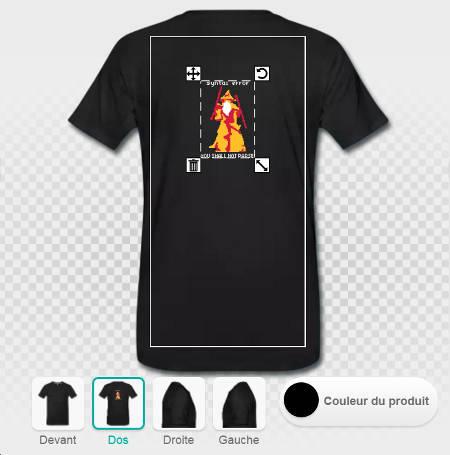 Imprimer le t-shirt geek au dos, faire glisser un design.
