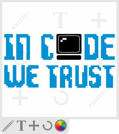 t-shirt code personnalisé. In code we trust. T-shirt informatique.
