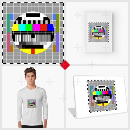 T-shirt mire, mug test pattern à imprimer en ligne. Trouvez l'accessoire nerd qui vous plaît avec ce motif : carnet, tote bag.