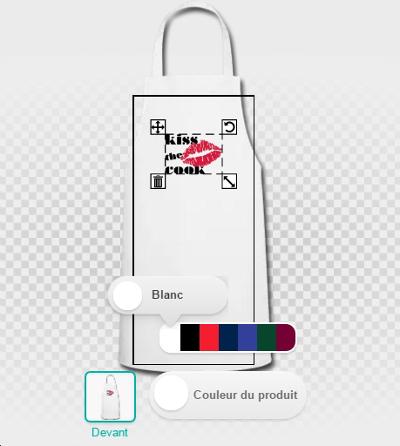 Modifier la couleur du tablier dans le designer Spreadshirt.