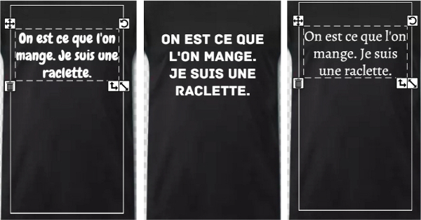 T-shirts citations raclette et variations de typo
