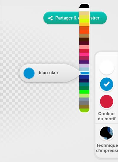 Outil de modification des couleurs d'impression, à droite du Designer Spreadshirt.