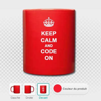 Keep calm and code on, un mug spreadshirt personnalisé, exemple de mise en page.