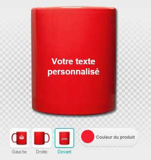 Manipuler le texte personnaliser sur la tasse