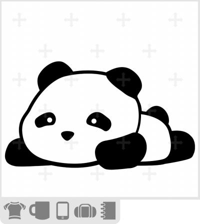 T-shirt petit panda rigolo dessiné en style kawaii en noir et blanc. Panda couché.