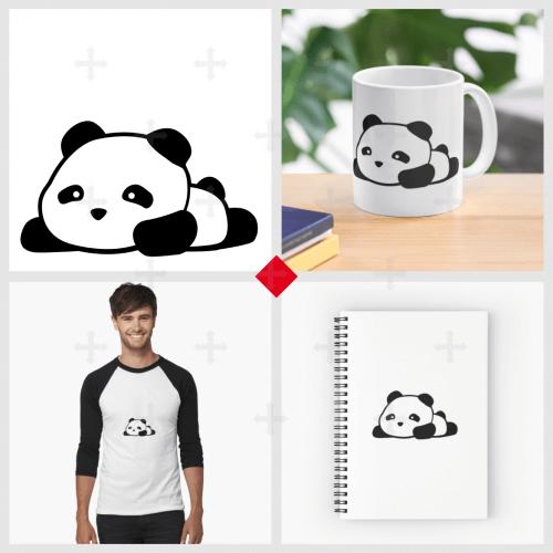 Bébé panda kawaii sur Redbubble. Petit panda rigolo à imprimer sur votre t-shirt, carnet de note, tote bag ou accessoire.