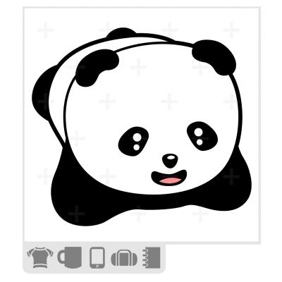 t-shirt panda rigolo à imprimer en ligne. Bébé panda mignon.