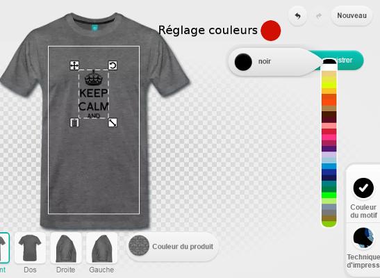 Regler la couleur du design dans le designer.