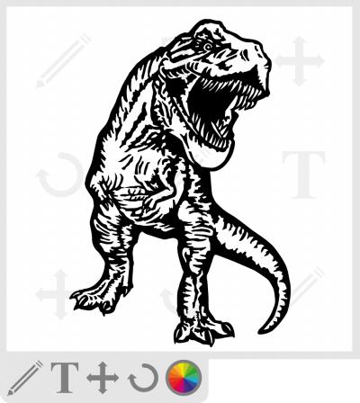 T-rex, dinosaure dessiné en pied et de face.