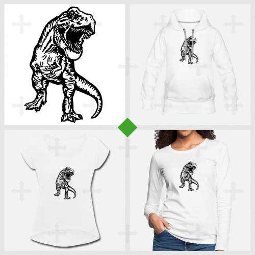 Imprimer un t-shirt Dinosaure T-rex à créer soi-même.