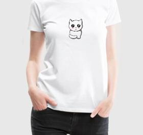 t-shirt chat femme blanc à personnaliser