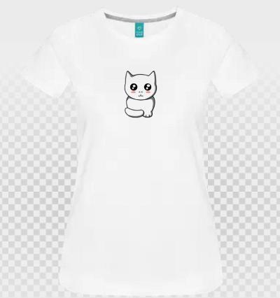 Chat personnalisé transparent sur t-shirt blanc féminin