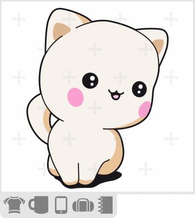 T-shirt chaton à imprimer en ligne. Chaton mignon en tons crème.