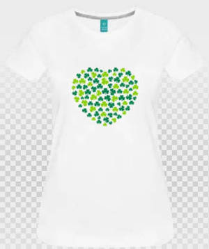 T-shirt coeur irlandais verts sur blanc