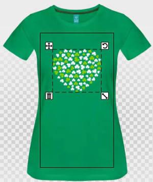 Coeur irlandais vert et blanc sur vert