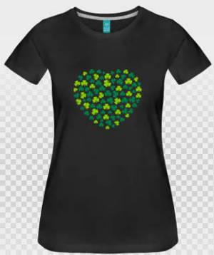 Coeur saint patrick en shamrocks verts sur fond noir