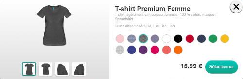 Sélectionnez un t-shirt et réglez la couleur.