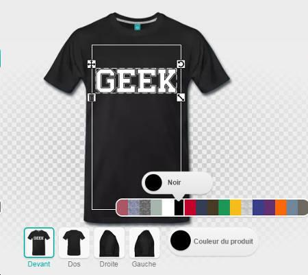 Geek blanc sur noir, personnalisation du t-shirt.