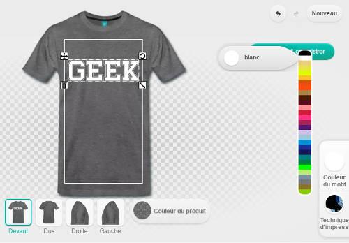 T-shirt geek, personnalisation et réglage des couleurs.