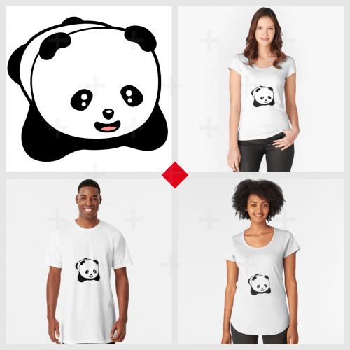 Petit panda rigolo stylisé dessiné en noir et blanc, avec une bouche rose. Panda kawaii original.